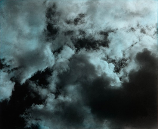 Wolken 373-8-2, oil on silver gelatine print, 30 x 40 cm, 1999