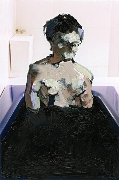 Figur 383-13-1, oil on C-print, 9 x 7 cm, 2014