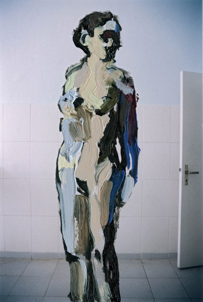 Figur 383-22-1, oil on C-print, 9 x 7 cm, 2014
