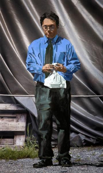 Figur 728-9-1, oil on Kodak Endura Metallic print, 70 x 40 cm, 2006