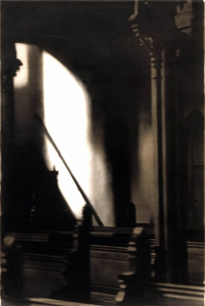 Kircheninnenraum 90-7, oil on silver gelatine print, 100 x 60 cm, 1995