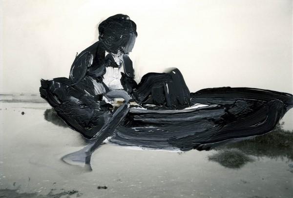 Figur 0-2, oil on silver gelatine print, 9 x 13 cm, 1994