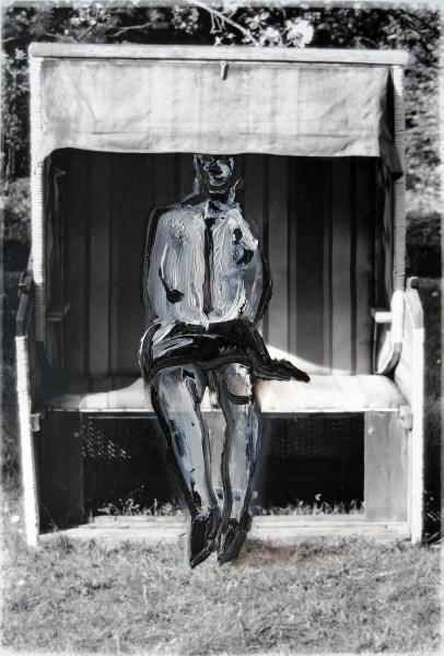 Figur 0-7-1, oil on silver gelatine print, 14 x 11 cm, 1996