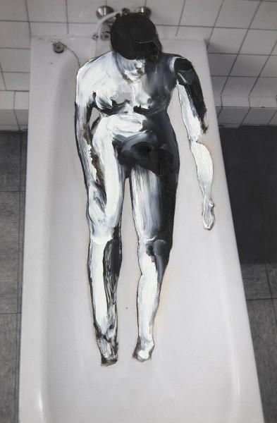 Figur 10-8-2, oil on silver gelatine print, 30 x 20 cm, 1995