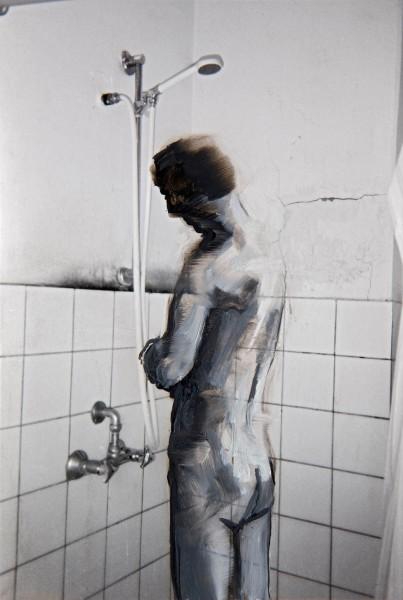 Figur 11-13, oil on silver gelatine print, 13 x 9 cm, 1994