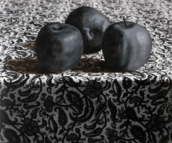 Äpfel 161-1, oil on silver gelatine print, 50 x 60 cm, 1997