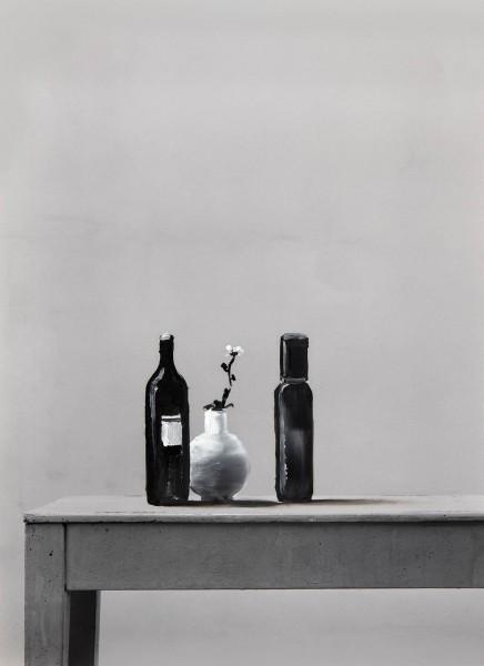 Stilleben 274-10-1, oil on silver gelatine print, 30 x 24 cm, 1998