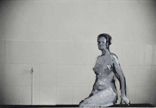 Figur 381-6-1, oil on silver gelatine print, 13 x 18 cm, 1999