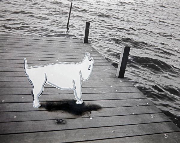 Hund 65-34-1, acrylic paint on silver gelatine print, 24 x 30 cm, 1995