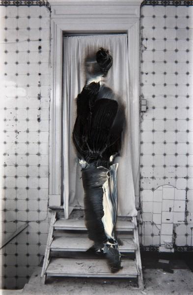 Figur 69-8, oil on silver gelatine print, 15 x 10 cm, 1995