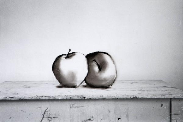 Äpfel 8-30, oil on silver gelatine print, 30 x 40 cm, 1995